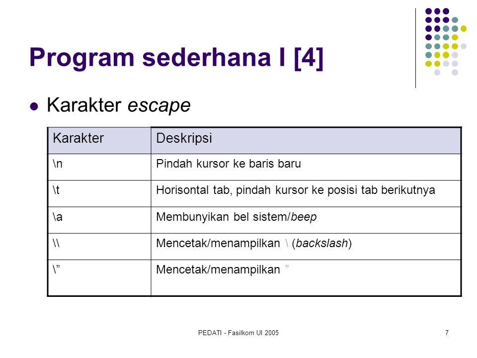 Program sederhana I [4] Karakter escape Karakter Deskripsi \n